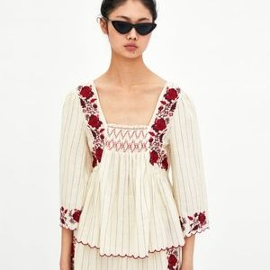 NWT Zara Size L Boho Peasant Embroidered Top